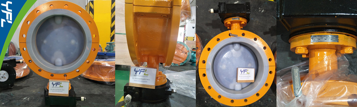 YFL DN400 Corrosion Resistant PFA Lined butterfly valves