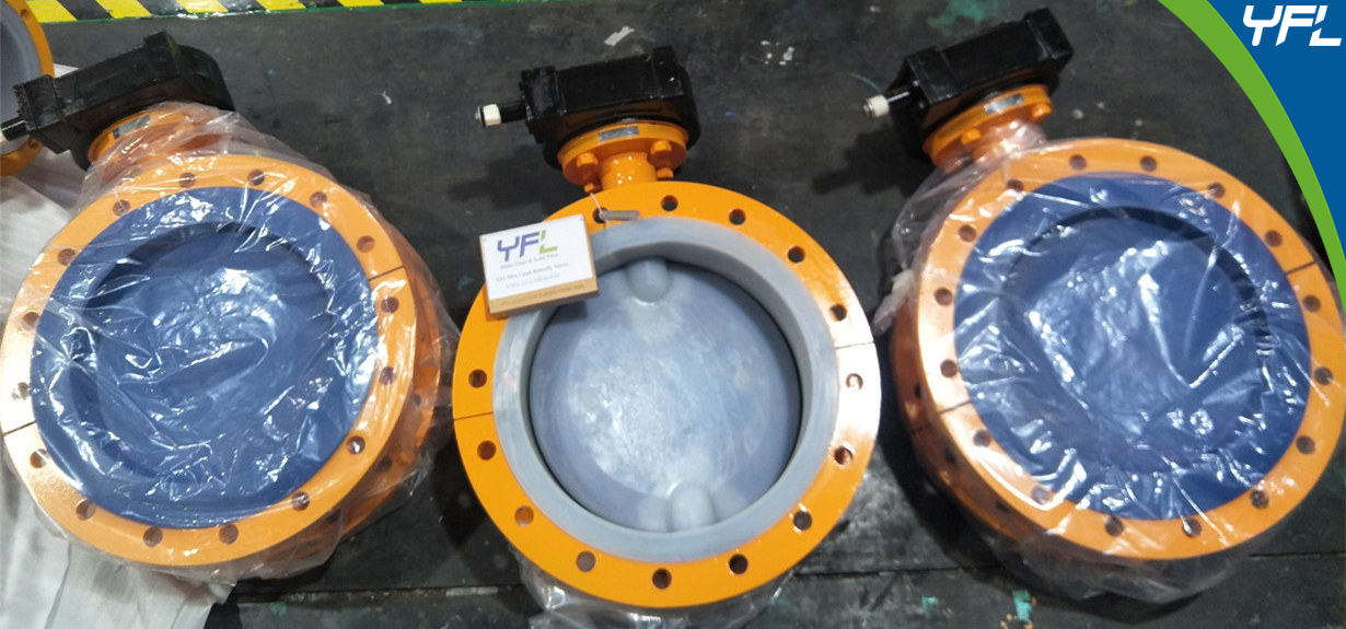 YFL DN400 PFA Lined Butterfly Valves