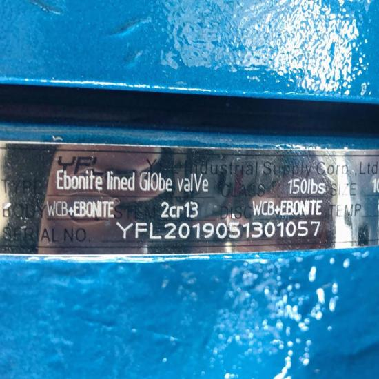 Rubber lined Y type globe valve